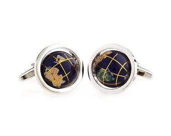 Spinning Globe Cufflinks Navy Blue Around the World Sailing Traveler Cuff Links