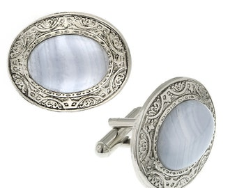 Embossed Lace Cufflinks Silver Tone Blue Stone Oval Cuff Links