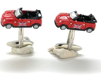 British Mini Convertible Cufflinks Fully 3D Detailed Design Car Fun Cool Unique Sporty Vehicles UK Cuff Links Comes with Gift Box