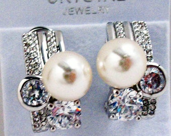 Statement Crystal Earrings Silver Banded Glass Pearl Teardrop Post Lever Back Holiday Party Silk Road Collection Jewelry