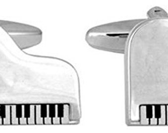 Music Collection Shiny Silver Tone Modern Baby Grand Piano Cuff Links Harmony Comes with Gift Box