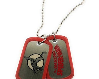 Dog Tag Red Spiderman Action Double Dog Tag Necklace Marvel Comics vintage jewelry
