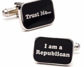 Trust me I am a Republican Policital Party Cufflinks Black Enamel Business Cuff Links