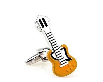 Acoustic Guitar Cufflinks Orange Yellow Enamel Musician Cuff Links Cufflinks