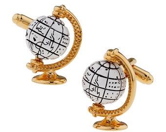 Spinning Globe Cufflinks  White Glode with Gold Around the World Sailing Traveler Cuff Links