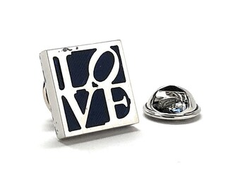 Love Enamel Pin, All You Need is Love Lapel Pin Dark Blue