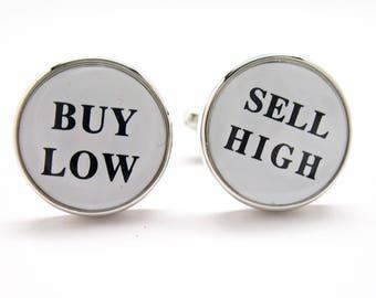 Buy Low Sell High Cufflinks Round Silver Tone Cuff links Men's Cufflinks Cool Guy Gifts Custom Cufflinks