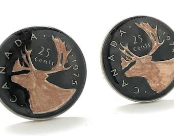 Enamel Cufflinks Hand Painted Canada Enamel Coin Jewelry Caribou Canadian Cuff Links Calgary Edmonton Halifax Montreal Toronto Vancouver