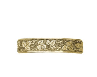 Gold Floral Leaf Rectangle Barrette, Hair Accessories