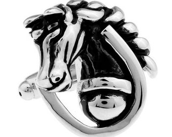 Run For The Roses Silver Horse Stallion w Black Accents Cufflinks Cuff Links Animal