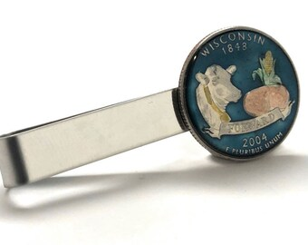 Birth Year Birth Year Wisconsin State Quarter Tie bar Enamel Hand Painted Edition Coin Souvenir Unique Rare Fun Gift Comes with Gift Box