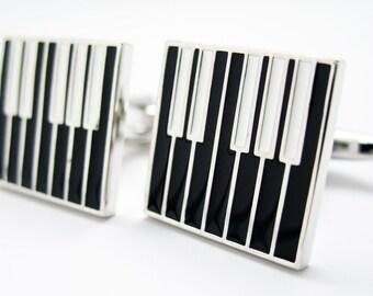 Black and White in Harmony Piano Keys Music Cufflinks Cuff Links