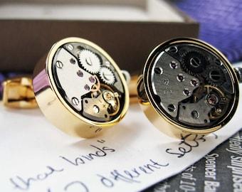 Round  Watch Movement Cufflink Vintage Round Gold Tone Functional Cufflinks Cuff Links