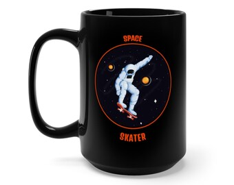 Space Skater Dude Coffee Black Mug 15oz Spaceman Fun Graphic Ceramic Cup Spaceman Space Man