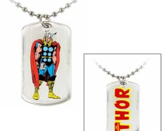 Dog Tag Marvel Comics Standing Thor Dog Tag Comic Chain Double Sided Pendant Necklace vintage jewelry