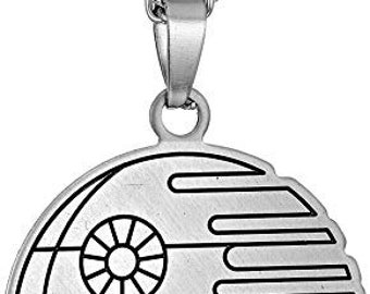 """Star Wars Jewelry Death Stainless Steel Flat Cut Out Pendant Necklace, 18"""" vintage jewelry"""