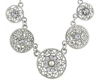 Silver Tone Czech Crystal Filigree Charm Collar Necklace Holiday Statement Silk Road Jewelry