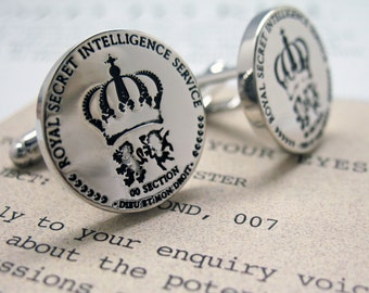 Spy Cufflinks Secret Service Silver Toned Collection Royal Secret Intelligence Service Cuff Links Unique Rare Fun Cool Comes with Gift Box