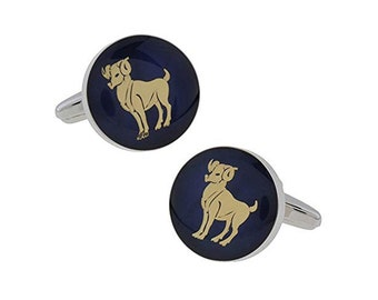 Men's Executive Cufflinks Aries Zodiac Sign Deep Blue Enamel Gold Symbol Astrology Cuff Links