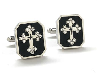 Black Enamel Crystal Cross Cufflinks Orthodox Religion Christian Symbols Cuff Links Comes with Gift Box