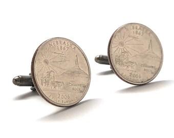 Nebraska Flag Gold-tone Cufflinks Money Clip Engraved Gift Set