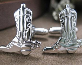 Western Cowboy Boots Cufflinks Antique Silver Tone Cuff Links