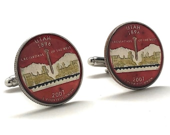 Enamel Cufflinks Hand Painted Utah State Quarter Enamel Coin Jewelry Money Currency Finance Accountant Cuff Links Red Rocks Edition