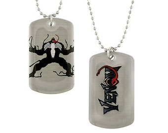 Dog Tag Marvel Comics Venom in Angry Spiderman Super Villain Double Sided Dog Tag Anti Hero Halloween Necklace vintage jewelry