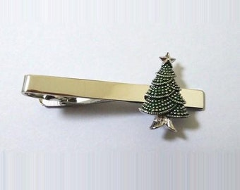 Christmas Tree Santa Claus Winter Tie Clip Tie Bar Silver Tone Very Cool Comes with Gift Box