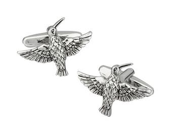 Silver Tone Flying Hummingbird Bird Cufflinks Black Enamel 3D Design Cuff Links Garden Cuff Links