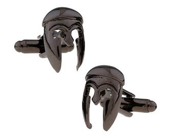 Gunmetal Spartan Mask Cufflinks Helmet Warrior Cool Detailed Design Cuff Links Classic Unique Comes with Gift Box