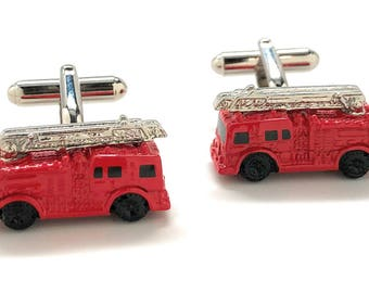 Red Enamel Fire Truck Cufflinks 3D Fun Design Detailed Search and Rescue Firemen Fire Department Cuff Links Comes with Gift Box