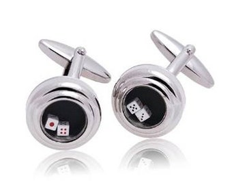 Rolling Dice Cufflinks Las Vegas Silver Toned Two Moving Dice Cuff Links