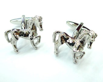 Silver Marching Dressage Horse Cufflinks Cuff Links Animal