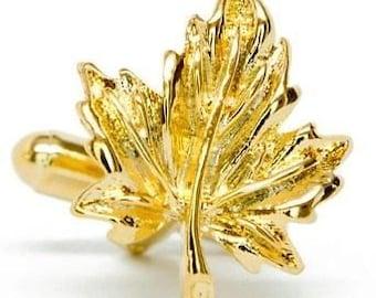 Gold Cufflinks Maple Leaf Cufflinks Oh Canada Cufflinks Gold Tone Maple Leaf Cuff Links