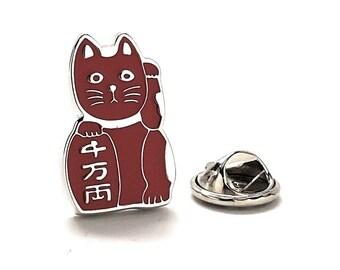 Lucky Cat Enamel Pin, Red