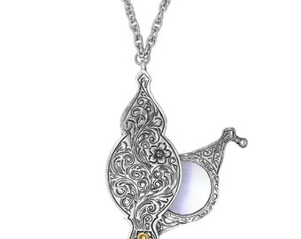 """Ornate Silver Pewter Fold Out Magnifier 30"""" Pendant Necklace Historical Reproduction Exquisite Vintage Silk Road Jewelry"""