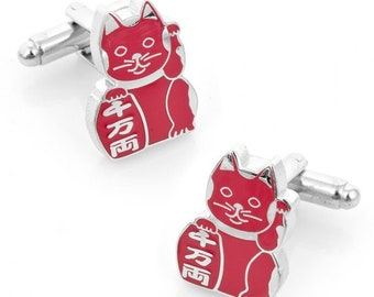 Red Japanese Cat Cufflinks Lucky Cat Bring Health to Owner Cufflinks Cuffs