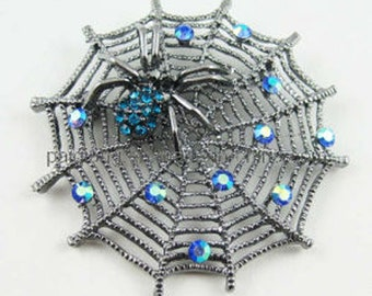 Women's Brooch Silver Aqua Crystals Halloween Spider Web Brooch Pin