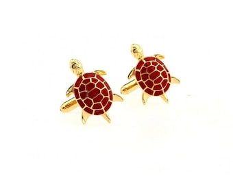 Gold & Red Turtle Cufflinks Tropical Ocean Life Cuff Links