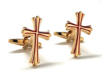 Gold Cross Cufflinks with Red Enamel Accent Cross Cufflinks Cuff Links Black Friday Sale Cyber Monday On Sale