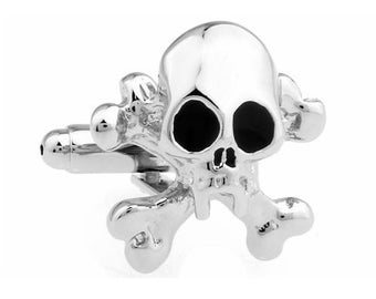 Skull & Cross Bones Cufflinks Silver Treasure Island Cufflinks Halloween Skull Nightmares Silver Toned Cuff Links