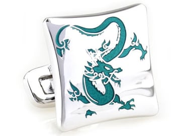 Enter the Dragon Cufflinks Silver Tone with Turquoise Green Enamel Cuff Links