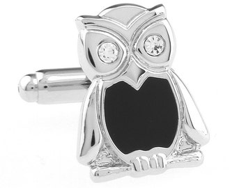 Wise Owl Cufflinks Silver Tone with Black Accent Crystal Eyes Cuff Links Harry Potter Hogwarts Gryffindor Slytherin Ravenclaw Hufflepuff