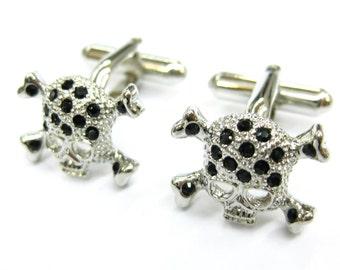 Designer Black Crystal Skull Skeleton Head with Crossbones Cufflinks Cuff Links