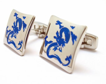 Enter the Dragon Cufflinks Silver Tone with Cobalt Blue Enamel Fantasy Dragons Cuff Links Gifts for Him Whale Tail Post