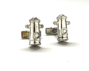 Sterling Silver Cufflinks Fire Hydrant Cufflinks Fire Fighters Hero Fireman Cuff Links