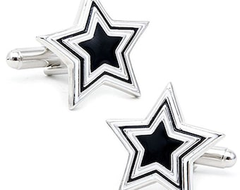 Black and White Star Cufflinks Prismatic Star Cufflinks Cuff Links Comes with Gift Box