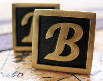 B Initial Cufflinks Antique Brass Square 3-D Letter Vintage English Lettering Cuff Links Groom Father Bride Wedding Anniversary Gift Box