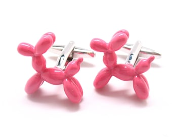 Pink Party Balloon Dog Cufflinks Doggie Good Times Fun Cool Unique Cuff Links Gift Box White Elephant Gifts